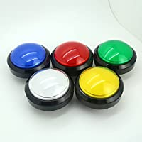 Easyget 5 Pcs/lots 5v 100mm Dome Shaped Jumbo LED Illuminated Self-resetting Push Button Switch for Arcade Game Projects , Pop'n Music DIY Projects & Mame DIY Projects 5 Color Available