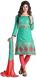 Manmauj Women's Cotton Unstitched Dress Material (MM10023DSBL, Turquoise)