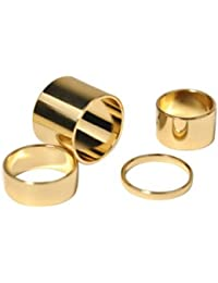 Vezoora Knuckle Stack Urban Plain Finger Band Midi Rings-SET OF 4 PIECES