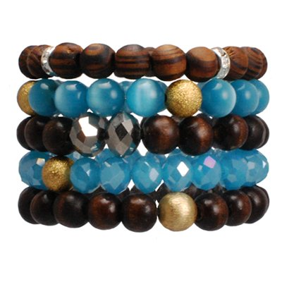 Jewelry Handcrafted By Calinana. 5 Layers made of Wood, Glass and Beads Stretchable Bracelet. Brown, Sky Blue and Gold Colored Design. Great Gift For: Bat Mitzvah Shabbat Passover Wedding Mother's Day Birthday Valentine Anniversary Bridesmaid Graduation and Other Jewish Occasions