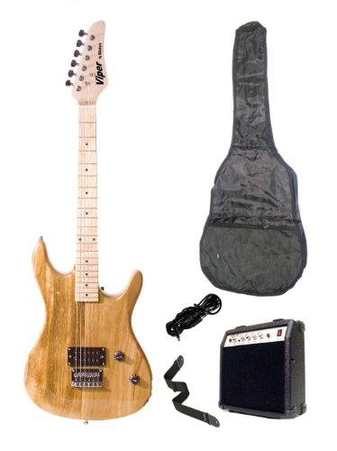 "Viper 39"" Inch Natural Blonde Electric Guitar & 10 Watt Amp Pack Carrying Case & Accessories (Includes Whammy Bar, Strap, Cable, Pick, Strings, Ebook, Harmonica)"