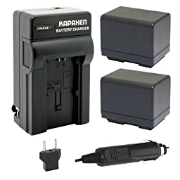 Kapaxen Two Intelligent Batteries + Charger Kit for Canon BP-727 and VIXIA HF R40 R42 R400 M50 M500 M52 R30 R300 R32 Full HD Camcorders