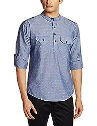 Svanik Men's Mid Thigh Cotton Kurta (SVCK1582_Small_Blue)
