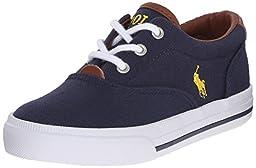 Polo Ralph Lauren Kids Vaughn Ii Sneaker (Toddler/Little Kid/Big Kid), Navy/Yellow, 4 M US Big Kid