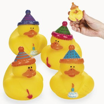 Birthday Party Rubber Ducks - 12 Count