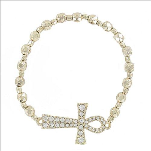 JOA Egyptian Cross W Bead Stretch Bracelet #041459