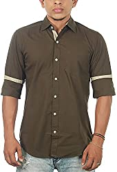 Lapilvi Men's Slim Fit Casual Shirt (lpb0006_military green_small, Green , Small)