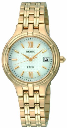 Seiko Ladies Quartz Analogue Watch SUT018P1 with Gold Plated Solar Bracelet and White Dial