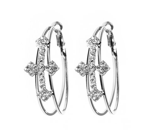 Cross Hoop Earrings Silver Tone White Crystals-1.5x1.75 Inches