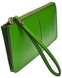 Heshe Women Leather Zipper Around Clutch Long Wallet Evening Purse Case Handbag with Wrist Strap