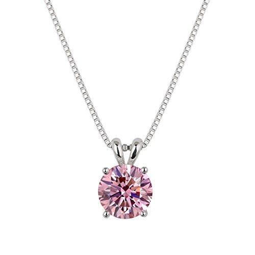 [ジュエリーキャッスル] Jewelry Castle ネックレス 2カラット CZダイヤモンド ( キュービックジルコニア ) シルバー925 プラチナ仕上げ ブリリアントピンク