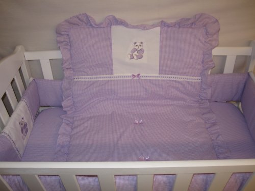 Imagen de Baby Doll Bedding guinga con Bear Sábana Applique Cradle, Lavanda