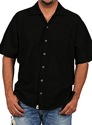 Cotton Natural Islander Button Down Short Sleeve Men's Shirt (3Xlarge, Black)
