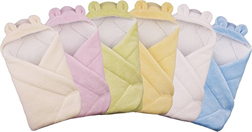 Blueberry Shop Hooded Warm Thermo Terry Swaddle Wrap Blanket, Duvet, Sleeping Bag Gift (Cream)
