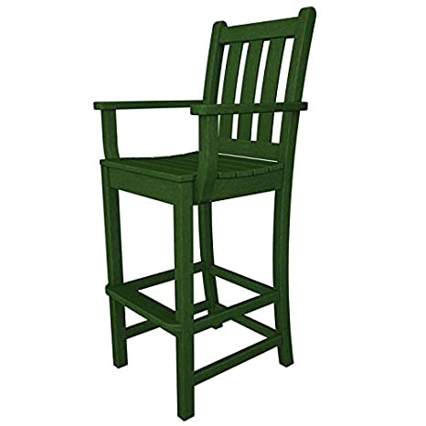 Polywood Traditional Garden Bar Height Arm Chair in Green