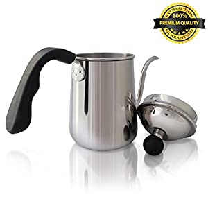 K&S Premium Coffee & Tea Pour Over Kettle, 1L. Stainless Steel Gooseneck Drip Pot, for Barista or Home Brewing with Aeropress, Chemex & Other Coffee Drippers / Makers