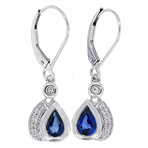 Click to buy Genuine Pear-shaped Sapphire and Diamond Dangle Earrings from Amazon!