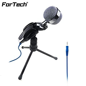 FORTECH #TOP RATED PLUG & PLAY COMPUTER MICROPHONE with Adjustable Tripod Excellent Home Studio 3.5mm Desktop Microphone Compatible with PC and Mac - ideal for Chatting, Skype, MSN, Yahoo Recording