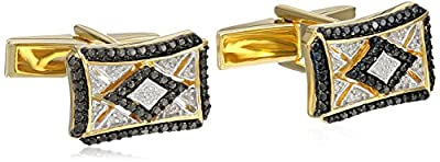 Men's 18k Gold-Plated Sterling Silver Black and White Diamond (1/10 cttw) Cuff Links