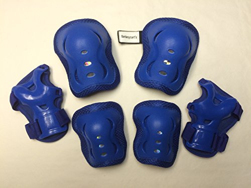 Fantasycart's Kid's Roller Blading Wrist Elbow Knee Pads Blades Guard 6 PCS Set in Blue