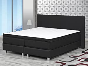 boxspringbett king size 180x200 cm komfortbett hotellbett schlafzimmer bett schwarz. Black Bedroom Furniture Sets. Home Design Ideas