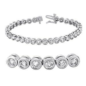 14k White Gold Tube Set Diamond Bracelet - JewelryWeb