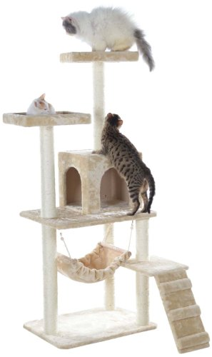 Gleepet gp78570921 cat tree with ramp 57 inch beige for Cat tree steps