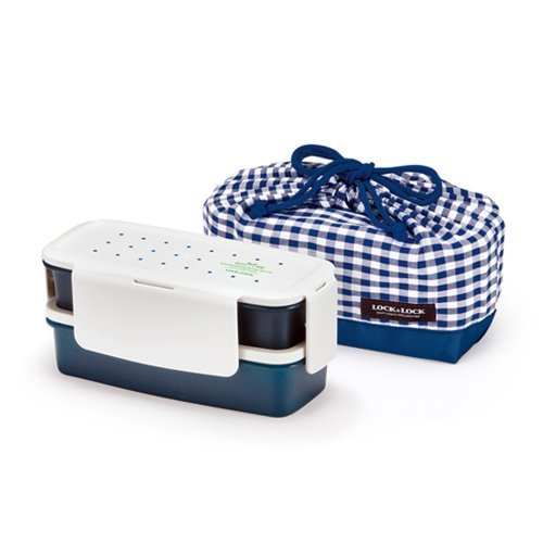 Lock & Lock Bento Lunch Box Set Airtight 2 Tier with 2 Containers + Bag (Navy) Small Version