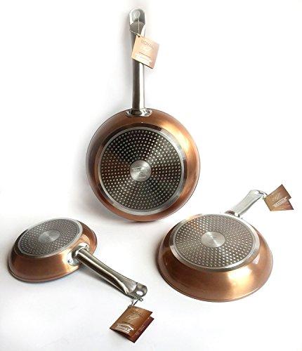 Royal Chef - Set di 3 Padelle Proffessionale Antiderente in Alluminio - Premium Quality - Ø 20, 24, 28 cm - Rame