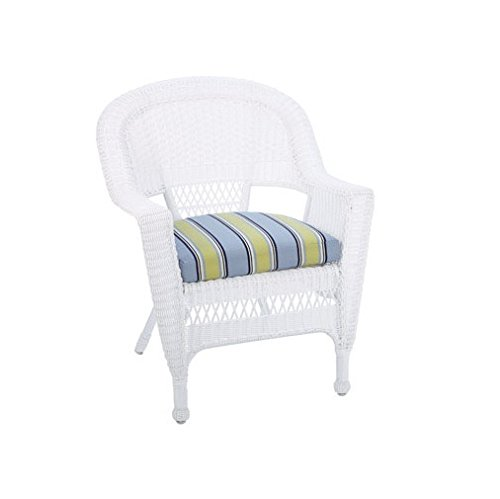 Living Accents 65-07-0490/1 Stacking Chair With Seat Cushion, White (White Wicker Resin Chair compare prices)