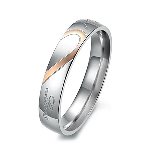 Women's Stainless Steel Band Ring Silver Tone Heart Valentine Love Couple Wedding Engagement Promise Size10