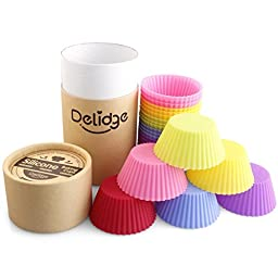 Delidge Upgraded Reusable Silicone Baking Cups in Storage Container, Pack of 24, Assorted