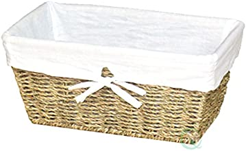 Vintique Wood Seagrass Shelf Basket Lined with White Lining
