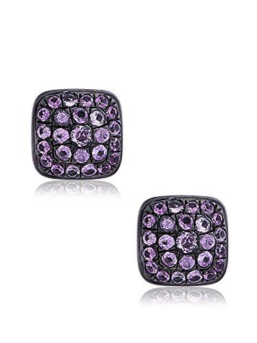 Socheec Delicate Square Pink Sapphire Stud Earrings
