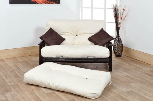 Ashton 2 Seater Futon Sofa Bed (4FT Small Double Size) - Wood  &  Metal Combo with Cream Reflex Flake Mattress