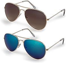 Gold Frame/Blue Lens + Gold Frame/Brown Lens-Quality Impact-Resistant Aviator Sunglasses-Pack of 2