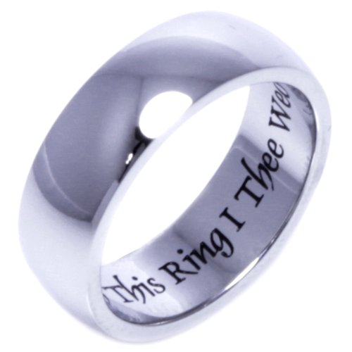 WITH THIS RING I THEE WED - Inspirational Jewelry- High quality etched stainless steel ring. Hypo-allergenic. Inspirational Relationship Jewelry Wedding Band / Wedding Ring / Promise Ring. SIZE 9
