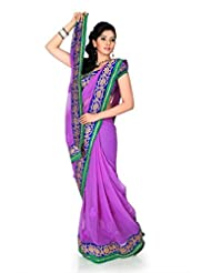 Designersareez Women Chiffon Embroidered Bright Mauve Saree With Unstitched Blouse(1184)