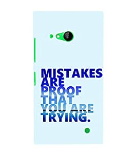 EPICCASE Keep trying Mobile Back Case Cover For Nokia Lumia 730 (Designer Case)