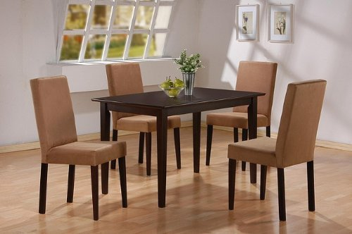5pc-cappuccino-finish-dining-table-4-microfiber-parson-chairs-set-by-coaster-home-furnishings