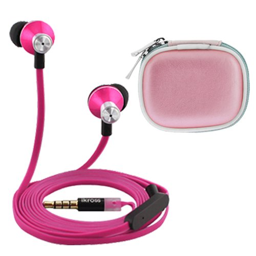 Ikross In-Ear 3.5Mm Noise-Isolation Stereo Earbuds With Microphone (Hot Pink / Black) + Pink Accessories Carrying Case For Apple Iphone 6, 5S 5C 5, Ipad Air, Mini, Ipod Touch 5Th, Ipod Nano 7Th And More