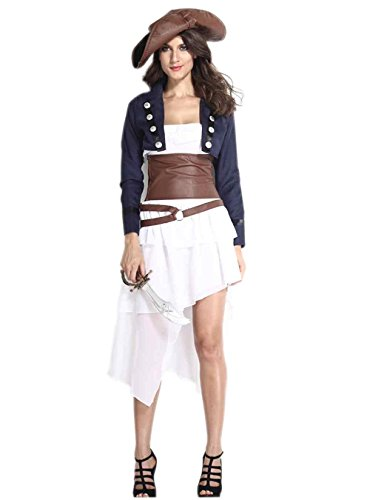 Iooho Women Halloween Cosplay Stage Costume Pirates of the Caribbean Female Captain Jack Uniform Fairy Tales Drama (Female Pirate Jacket)