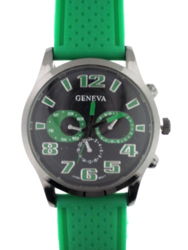 Green Silicone Rubber Gel Watch Dotted Embossed Band Black Face With Faux Chronograph.