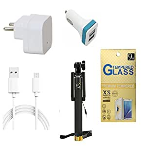 13Tech 1.0 Amp USB Charger+3 mtr Copper (Data Transfer+Charging) Cable +2 Jack Car Charger+Sefie Stick Aux+Tempered Glass for InFocus M370