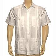Tan short sleeve Linen Guayabera shirt for men.