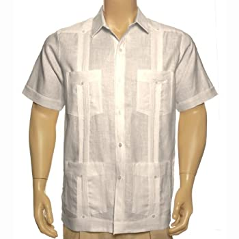 Tan short sleeve Linen Guayabera shirt for men.