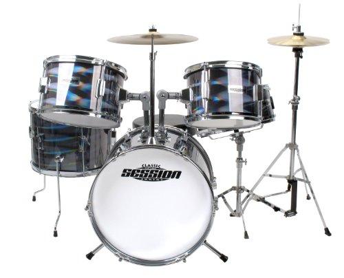 XDrum Junior Pro Drumset Laser silber (4-9 Jahre) und Drumschool inkl. DVD