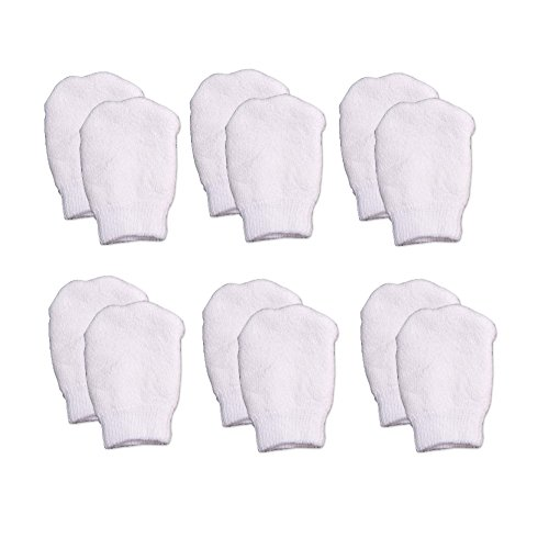 White Newborn Mittens by Nurses Choice (Includes 6 Pairs of No Scratch Baby Mittens)