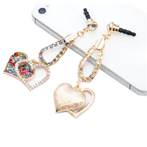 Mavis'S Diary Bling Crystal Rhinestones 3.5Mm Plated Love Heart Pattern Cellphone Charms Anti-Dust Earphone Audio Headphone Jack Plug Stopper For Iphone 4 4S Samsung Galaxy S2 S3 Note I9220 Htc Sony Nokia Motorola Lg Lenovo +Free Mavis'S Diary Cleaning Cl