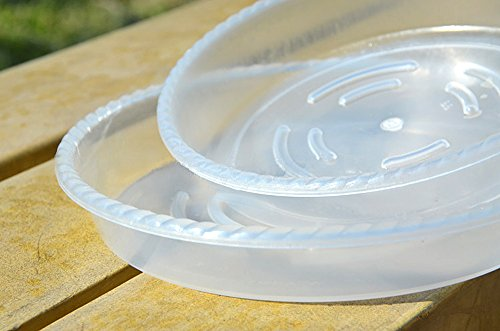 Peicees Extra-thick Round Clear Plant Pot Saucers Resin for Outdoor Indoor Use Assorted 6